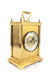 Highly Ornate Gold Clock on White Background