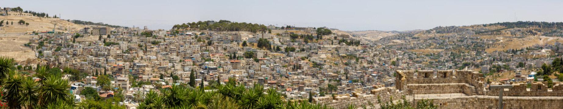 Wide panorama of buildings in East Jerusalem
