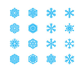 Set of snowflakes. 16 vector icons. Collection of logos for your design.