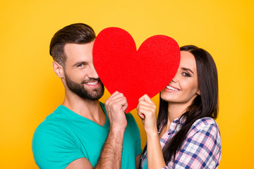 Fototapeta Portrait of lovely cheerful couple looking out big carton paper heart figure having beaming smiles isolated on bright yellow background. Fall in love true feelings concept obraz