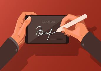 Flat illustration on the theme of digital signature