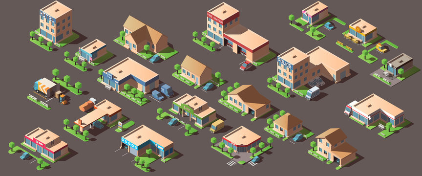 Vector set with isometric city buildings.