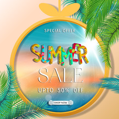 Summer sale banner with tropical palm leaf.