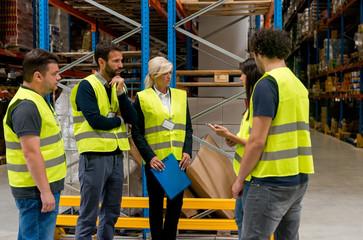 Warehouse staff meeting