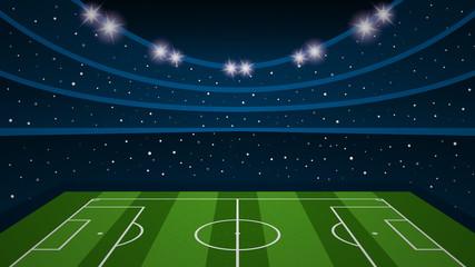 Empty football field arena stadium, vector illustration