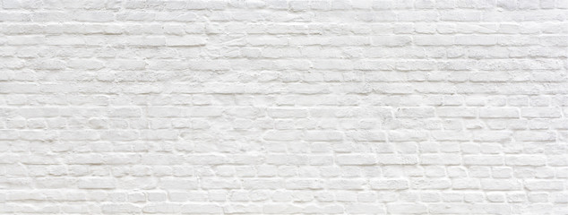 Foto auf Leinwand Ziegelmauer White painted old brick Wall panoramic background
