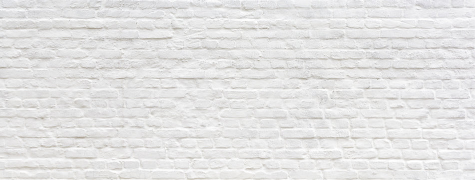 White painted old brick Wall panoramic background