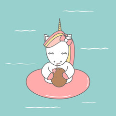 cute cartoon colorful unicorn with float in the sea summer vector illustration