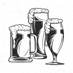 Isolated illustration with hand drawn beer mugs.