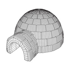 Igloo icehouse. Snowhouse or snowhut. Eskimo shelter built of ice. Wireframe low poly mesh vector illustration
