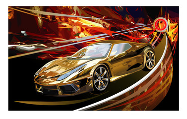 Sports car Golden luxury vector illustration on multicolored background