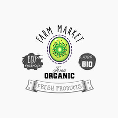Bio sticker and eco products. Kiwi web element, Isolated Vector.