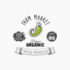 Bio sticker and eco products. Chili pepper web element, Isolated Vector.