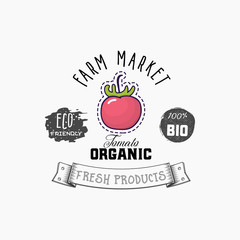 Bio sticker and eco products. Tomato web element, Isolated Vector.