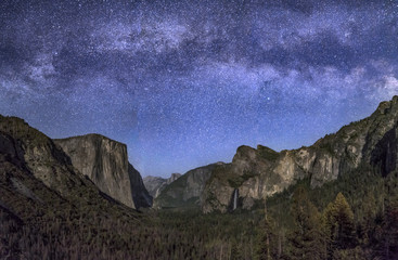 Are the Stars Out Tonight - Milky Way over Moonlit Yosemite Valley