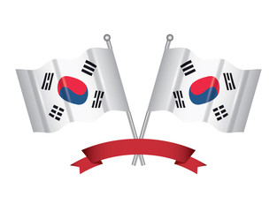 decorative ribbon and South Korea crossed flags over white background, vector illustration