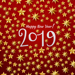 Vector illustration of Happy New year 2019 background with golden stars confetti. Gold and red colors. Hand lettered years number
