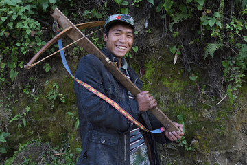 Crossbow man smiling