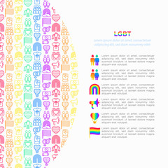 LGBT concept with thin line icons: gay, lesbian, rainbow, coming out, free love, flag, support, stop homophobia, LGBT rights, pride day. Modern vector illustration, print media template.