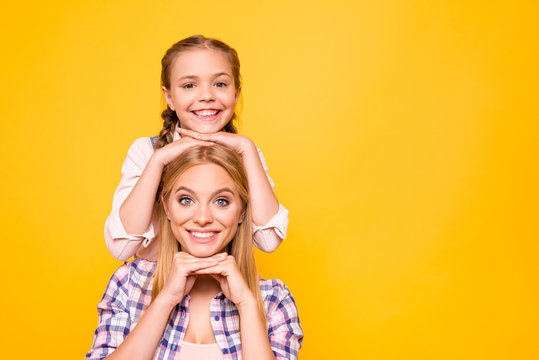 Offspring emotion expressing concept. Close up portrait of cheerful excited funny funky cute nice lovely sweet family photo isolated on bright vivid background copyspace