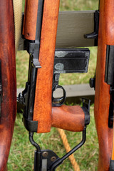 World war two American weapons at show event.