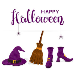 Witches shoes with purple hat and broom and text Happy Halloween