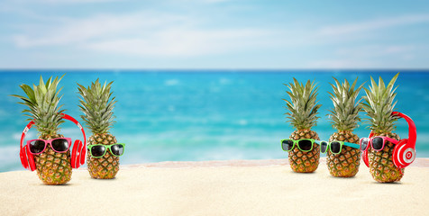 fresh pineapple on beach