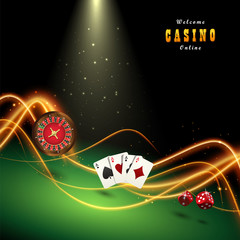 Design casino banner. Template with playing cards, dice, roulette.