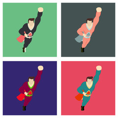 Set of Superhero cartoon icon with superman on background isolated flat illustration