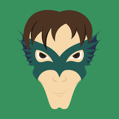 Superhero in Action. Superhero character . Icon in flat style
