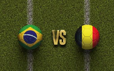 Brazil versus Belgium soccer quarter final match. 3D Rendering