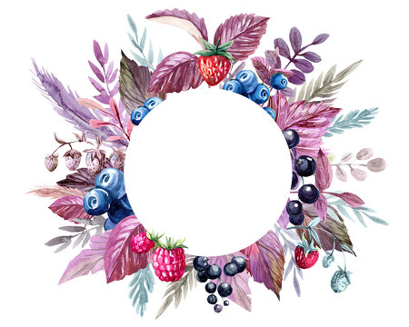 Watercolor frame with leaves and berry. Hand drawn illustration