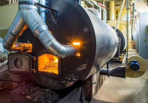 Burning bio pellets fuel in the boiler. Economical, ecologicla fuel.