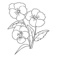 Flower cartoon illustration isolated on white background for children color book