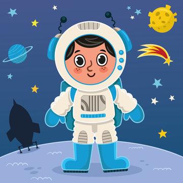 Astronaut boy on the planet. Vector illustration.
