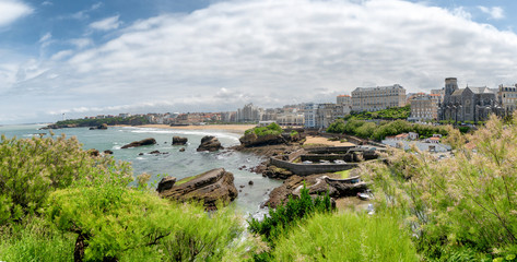 View of Biarritz beach by the Atlantic ocean, France