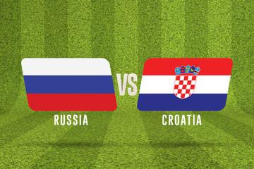 Russia versus Croatia soccer quarter final match. 3D Rendering