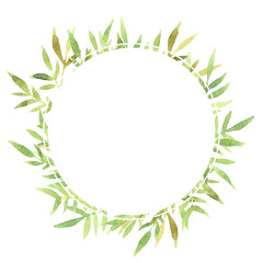 Round watercolor frame with green leaves on a white background