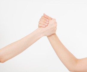 Two hands isolated. Helping hand to a friend. Copy space. Rescue or helping gesture of arms. Abstract confrontation