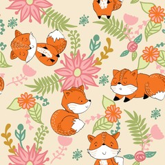 Vector hand drawn seamless pattern. Cute cartoon fox with flowers.