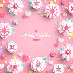 White paper flowers on pink background