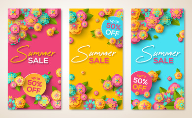Summer sale vertical banners with flowers