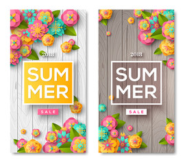 Summer sale wooden banners