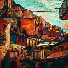 View of small Italian resort town, Cinque Terre. Tourism in Italy. Traditional houses. Big size oil painting fine art. Modern impressionism drawn artwork. Creative artistic print for canvas or poster.