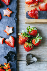 short strawberries with heart molds and stars