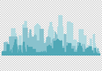 City skyline vector illustration. Urban landscape. Daytime cityscape in flat style Wall mural