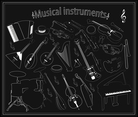 Set of vector musical instruments on a black background