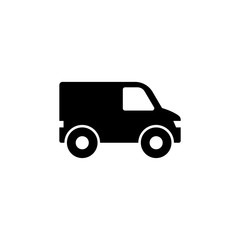 Minibus, Van Mini Bus. Flat Vector Icon illustration. Simple black symbol on white background. Minibus, Van Mini Bus sign design template for web and mobile UI element