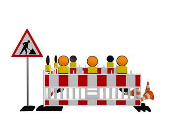 Baustellenabsperrung mit Baustellenschild, Warnleuchten und Verkehrshütchen. 3d render