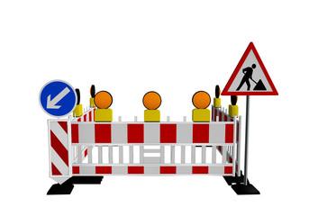 Baustellenabsperrung mit Baustellenschild und Warnlampen. 3d render
